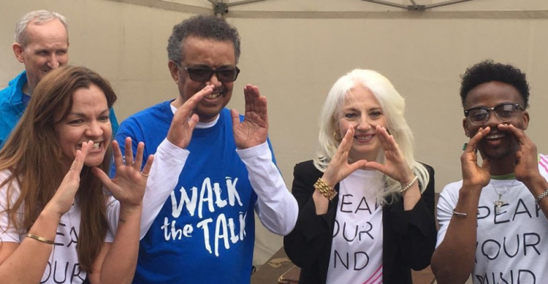 Twitter From left to right, Princess Dina Mirad of Jordan, WHO Director General Tedros Adhanom Ghebreyesus, mental health advocate and mother of Lady Gaga Cynthia Germanotta and Nigerian songwriter and singer Korede Bello participated in the 2019 Walk the Talk event in Geneva, Switzerland
