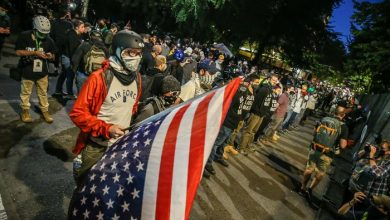 """Black Lives Matter; Portland has a """"Wall of Vets"""" lined up to protest outside the federal courthouse."""